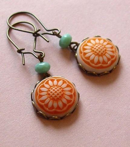 Vintage Finds Earrings Orange